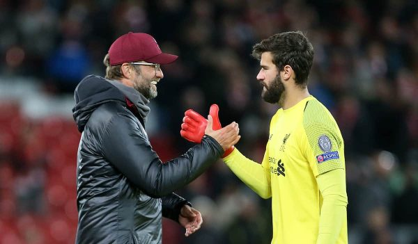 Liverpool manager Jurgen Klopp (left) and goalkeeper Alisson (Richard Sellers/EMPICS Sport)