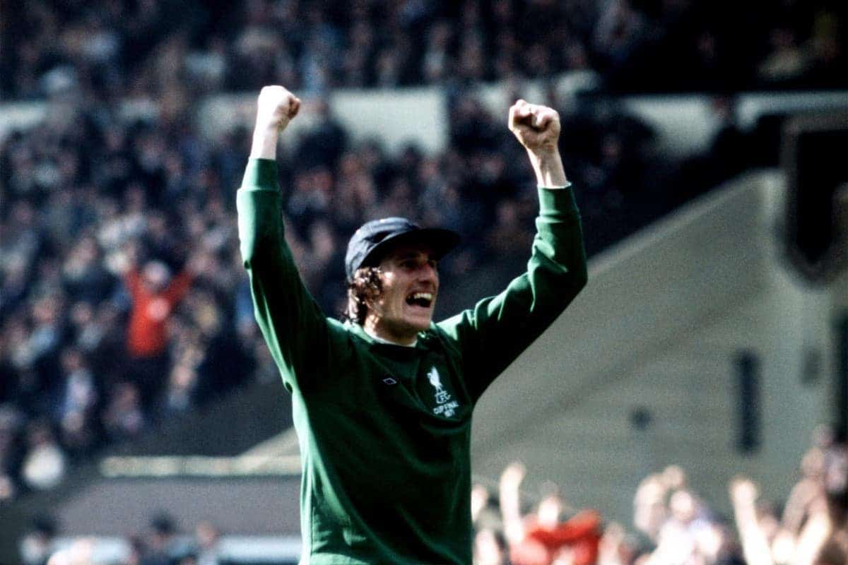 Liverpool goalkeeper Ray Clemence celebrates the equalizing goal