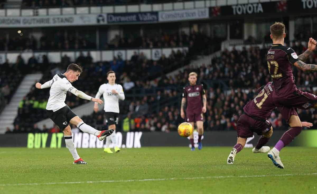 Derby County's Harry Wilson scores his side's first goal of the game ( Barrington Coombs/EMPICS Sport)