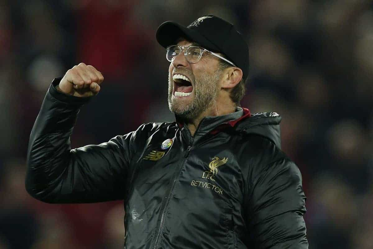 Jurgen Klopp celebrates the win during the Premier League match at Anfield Stadium, Liverpool. Picture date 2nd December 2018. Picture credit should read: Andrew Yates/Sportimage via PA Images