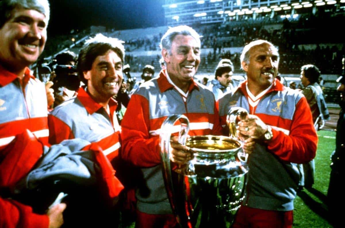 (L-R) The Liverpool coaching team of Chris Lawler, Roy Evans, manager Joe Fagan and Ronnie Moran celebrate with the European Cup