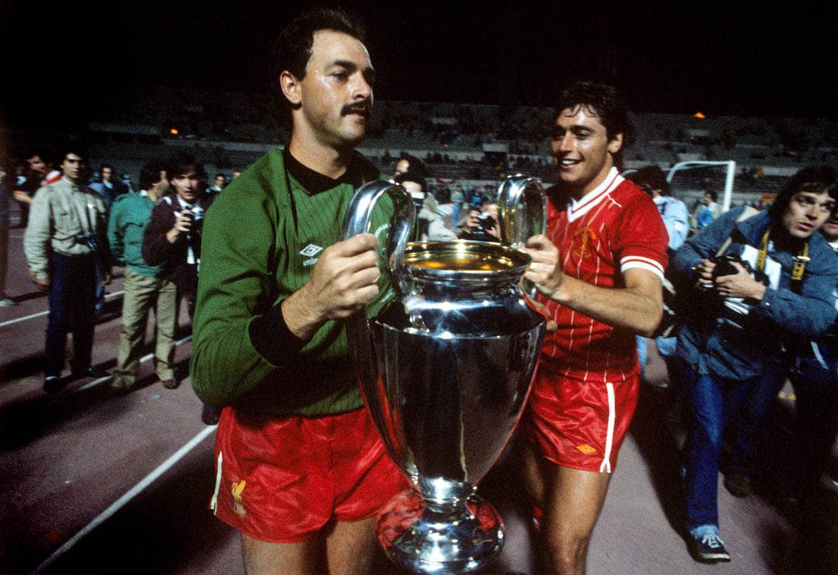 Liverpool's Bruce Grobbelaar and Michael Robinson celebrate with the European Cup, 1984. (Picture by Peter Robinson EMPICS Sport)