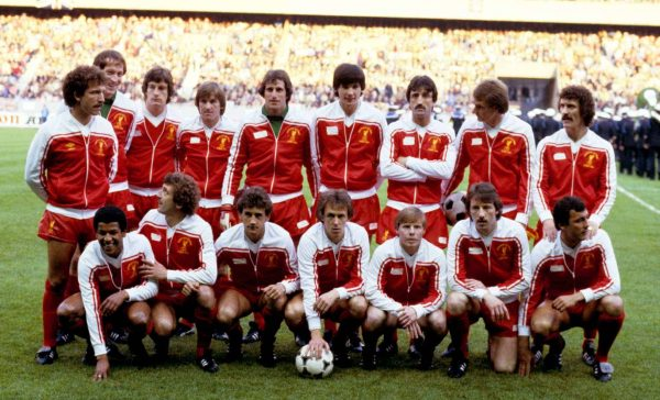 1981 European Cup Final: Graeme Souness, Steve Ogrizovic, Colin Irwin, Kenny Dalglish, Ray Clemence, Alan Hansen, David Johnson, Phil Thompson, Terry McDermott; (front row, l-r) Howard Gayle, Alan Kennedy, Richard Money, Phil Neal, Sammy Lee, Jimmy Case, Ray Kennedy (PA Images)
