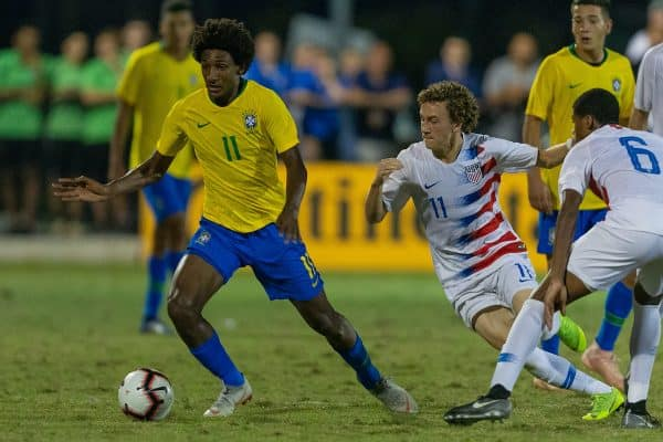 December 2, 2018 - Lakewood Ranch, FL, USA - LAKEWOOD RANCH, FL - December 2, 2018: USMNT Under-17 Men'Äôs National Team vs Brazil. The 2018 Nike International Friendlies at Premier Sports Campus. (Credit Image: © John Dorton/ISIPhotos via ZUMA Wire)