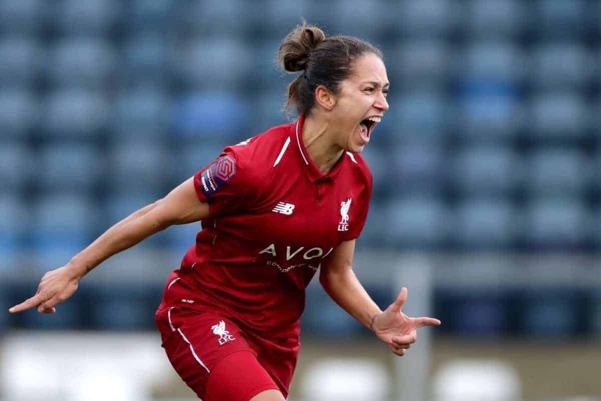 Liverpool women's Courtney Sweetman-Kirk celebrates scoring her side's first goal of the game (John Walton/EMPICS Sport)
