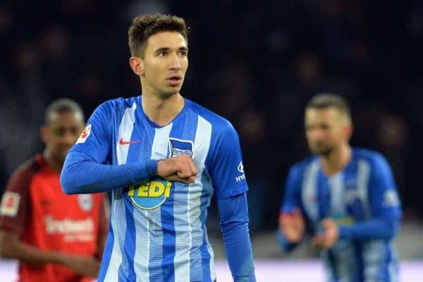 Marko GRUJIC (B), jubilation, cheer, joy, victory, happy, success, football 1st Bundesliga, 14th matchday, Hertha BSC Berlin (B) - Eintracht Frankfurt (F) 1: 0, on 08.12.2018 in Berlin / Germany. ¨ | usage worldwide