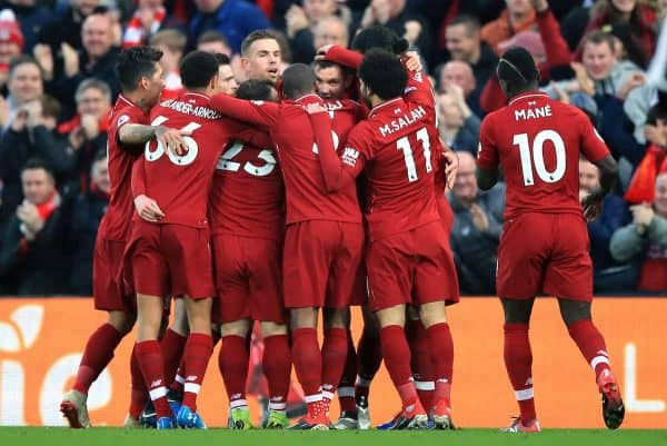 Liverpool's Dejan Lovren (centre right) celebrates scoring his side's first goal of the game with team-mates during the Premier League match at Anfield, Liverpool. (Peter Byrne/PA Wire/PA Images)