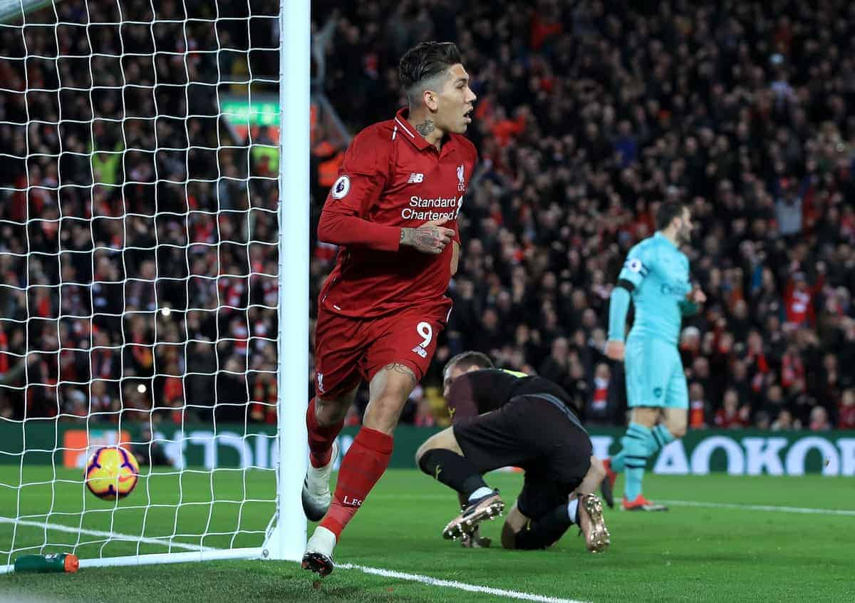 Liverpool's Roberto Firmino celebrates scoring his side's first goal of the game during the Premier League match at Anfield, Liverpool (Peter Byrne/PA Wire/PA Images)