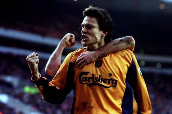 Liverpool's Jari Litmanen celebrates scoring the equalizing goal from the penalty spot