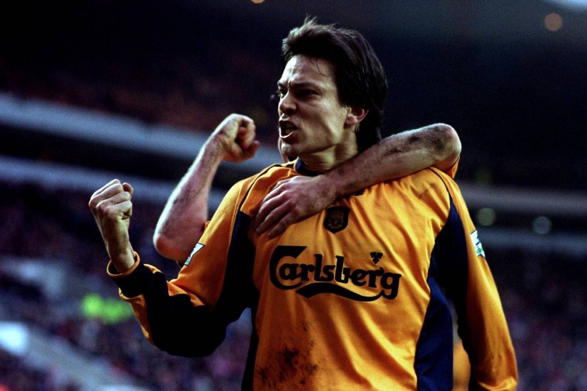 Liverpool's Jari Litmanen celebrates scoring the equalizing goal from the penalty spot