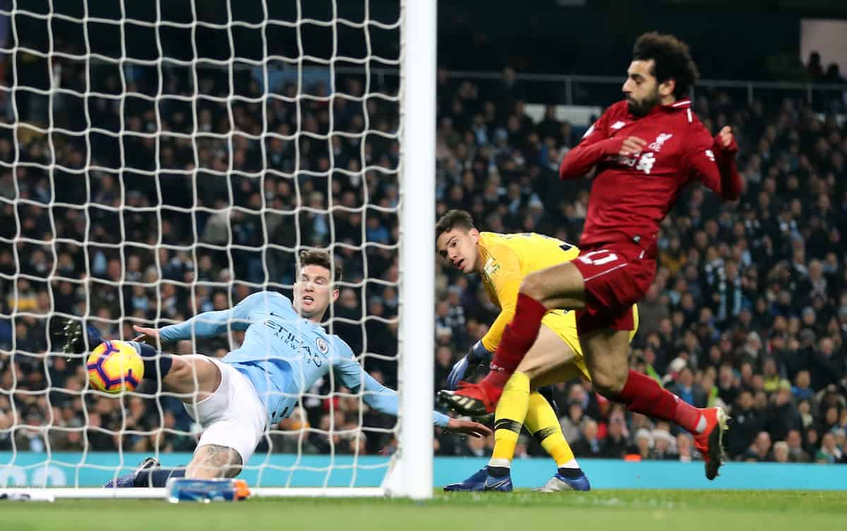 Manchester City's John Stones (left) clears the ball off the line during the Premier League match at the Etihad Stadium, Manchester. (PA Image)