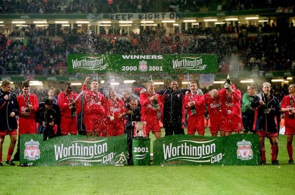 Liverpool, League Cup/ Worthington Cup Final winners, 2001 (Adam Davy/EMPICS Sport)