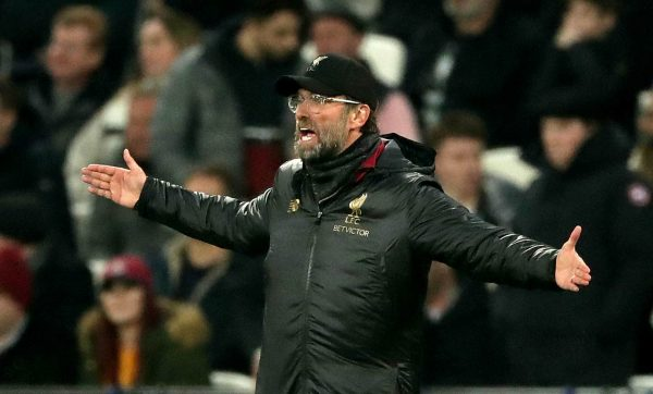 Liverpool manager Jurgen Klopp gestures on the touchline, vs West Ham ( John Walton/EMPICS Sport)