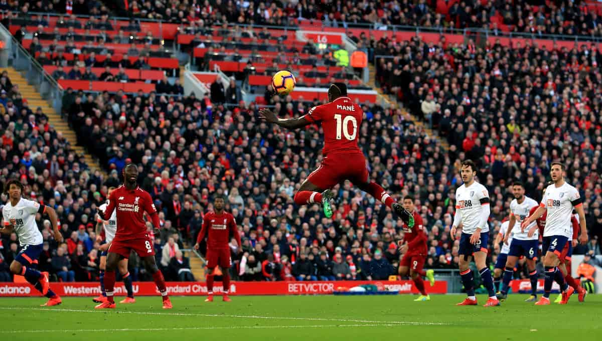 Sadio Mane, header, Anfield (Photo: Peter Byrne/PA Wire)