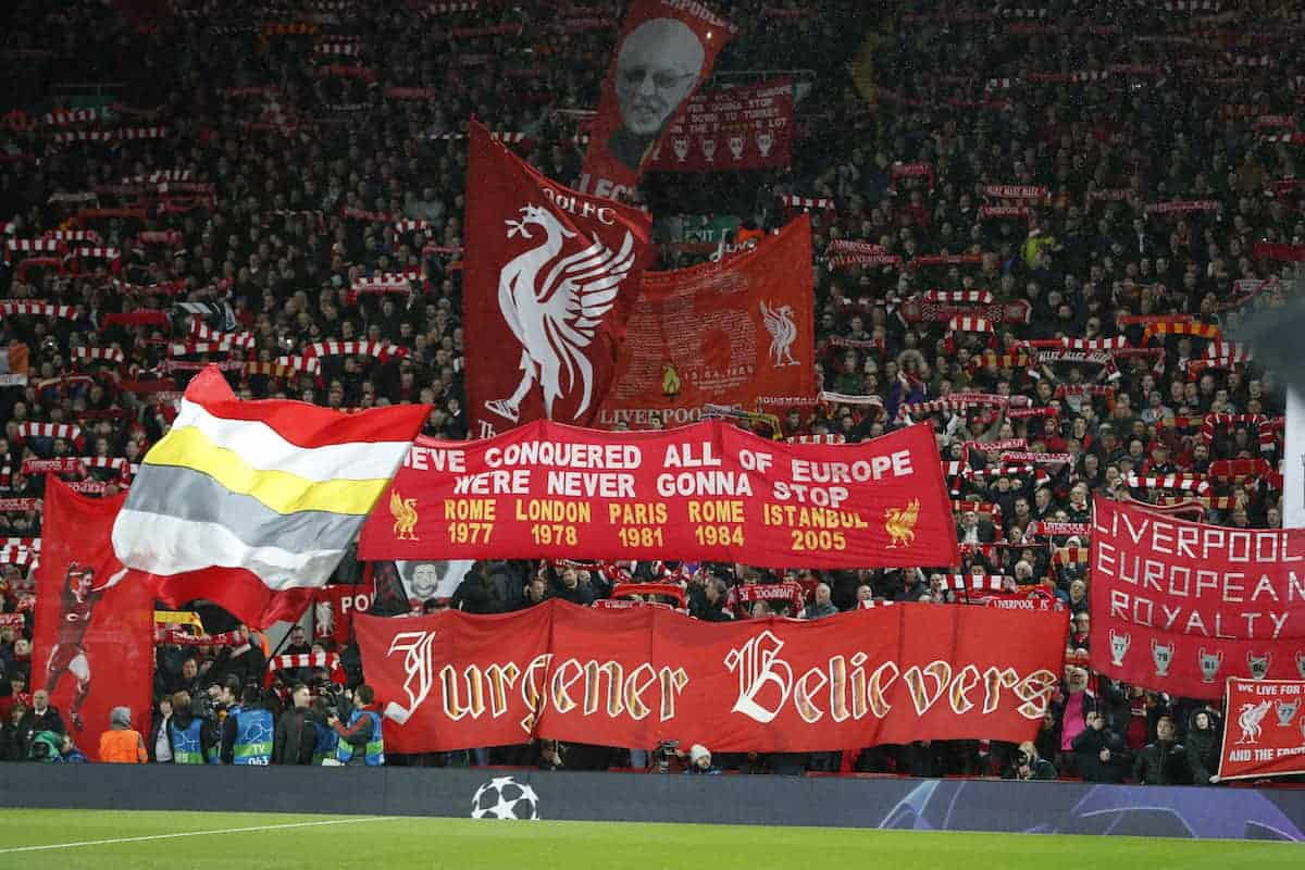 The Liverpool Spion Kop during the UEFA Champions League Round of 16 First Leg match at Anfield Stadium, Liverpool. (Photo: Darren Staples/Sportimage via PA Images)