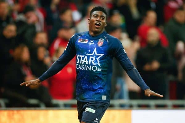 Mouscron's Taiwo Awoniyi celebrates after scoring during a soccer game between Standard de Liege and Royal Excel Mouscron, Saturday 02 March 2019 in Liege, on the 28th day of the 'Jupiler Pro League' Belgian soccer championship season 2018-2019. BELGA PHOTO BRUNO FAHY