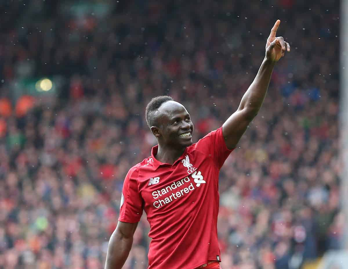 Sadio Mane of Liverpool celebrates scoring their second goal during the Premier League match at Anfield (James Wilson/Sportimage/PA Images)