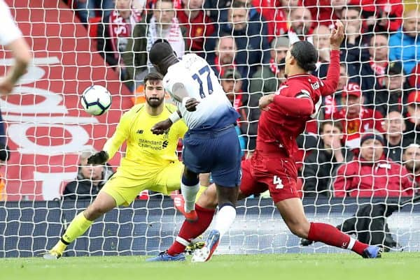 Tottenham Hotspur's Moussa Sissoko attempts a shot on goal during the Premier League match at Anfield, Liverpool.