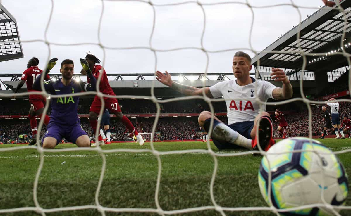 Alderweireld reacts after scoring an own goal, Liverpool's second goal of the game during the Premier League match at Anfield, Liverpool. (Martin Rickett/PA Wire/PA Images)