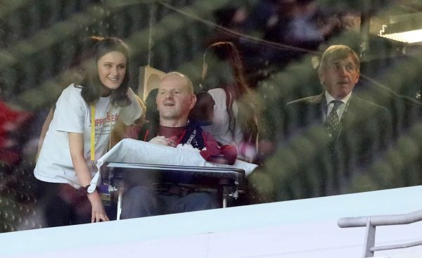Sean Cox in the stands alongside Kenny Dalglish (right) prior to the Sean Cox Fundraising match at The Aviva Stadium, Dublin.