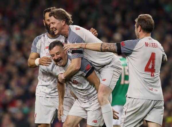 Liverpool Legends' John Aldridge (centre) celebrates with Patrik Berger (left) and Steve McManaman after scoring from the penalty spot for their first goal during the Sean Cox Fundraising match at The Aviva Stadium, Dublin. ( Brian Lawless/PA Wire/PA Images)