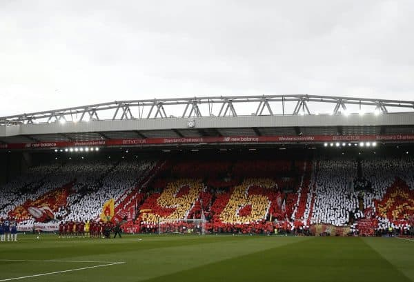 Fans create a mural before kick off on the eve of the 30th anniversary of the Hillsborough tragedy during the Premier League match at Anfield, Liverpool. (Andrew Yates/Sportimage via PA Images)