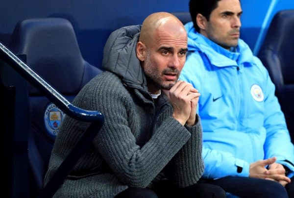 Pep Guardiola crying (Mike Egerton/PA Wire)