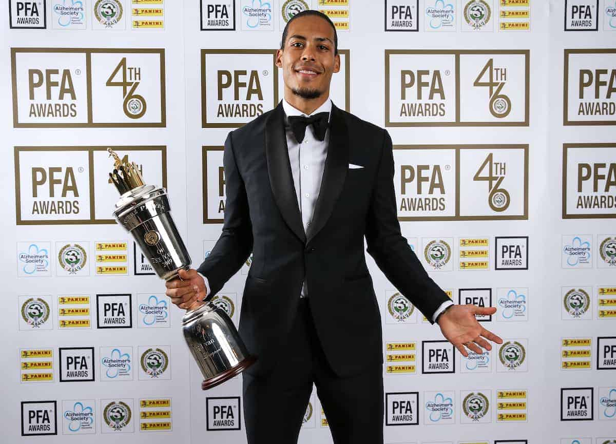 Liverpool's Virgil van Dijk poses with his PFA Player of the Year award during the 2019 PFA Awards at the Grosvenor House Hotel, London. (Barrington Coombs/PA Wire/PA Images)