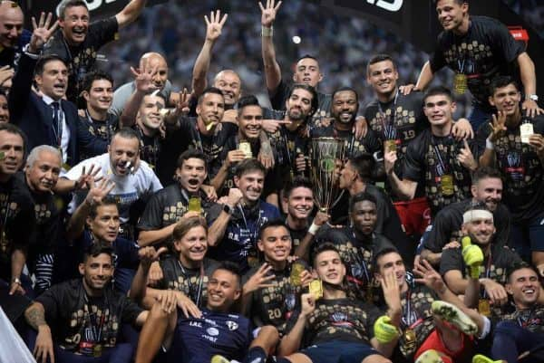 Monterrey players celebrate after winning the CONCACAF Champions League final against Tigres at the BBVA stadium, in Monterrey, Mexico, 01 May 2019. Argentine midfielder Nicolas Sanchez scored the penalty with which Rayados de Monterrey tied 1-1 with the UANL Tigers (2-1 on aggregate) and with which they were crowned CONCACAF champions. EFE/Miguel Sierra