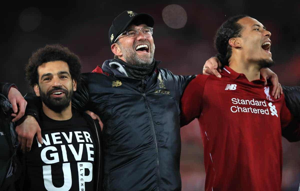 Liverpool's Mohamed Salah (left), manager Jurgen Klopp (centre) and Virgil van Dijk celebrate after the UEFA Champions League Semi Final, second leg match at Anfield, Liverpool.