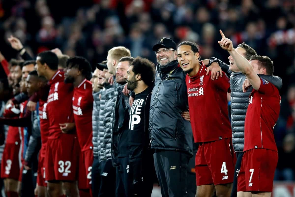 Liverpool manager Jurgen Klopp (fourth right), Mohamed Salah (fifth right) and Virgil van Dijk (third right) celebrate after the final whistle