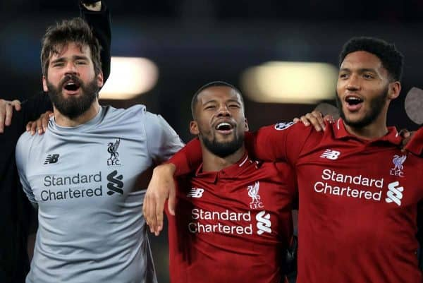 Liverpool goalkeeper Alisson Becker (left), Georginio Wijnaldum (centre) and Trent Alexander-Arnold celebrates after the UEFA Champions League Semi Final, second leg match at Anfield, Liverpool.