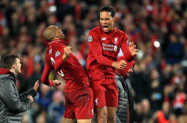 Liverpool's Fabinho (left) and Virgil van Dijk celebrate after the UEFA Champions League Semi Final, second leg match at Anfield, Liverpool.