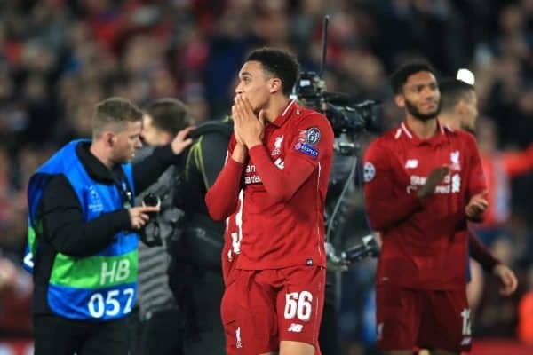 Liverpool's Trent Alexander-Arnold reacts after the UEFA Champions League Semi Final, second leg match at Anfield, Liverpool.