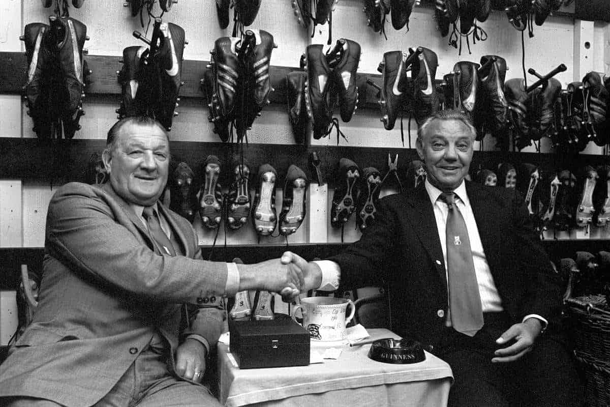 Liverpool manager Bob Paisley hands over the reins to his successor Joe Fagan (Picture by: PA Photos / PA Archive/Press Association Images)