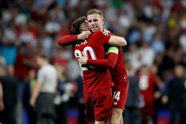 Liverpool's Adam Lallana (left) and Jordan Henderson (right) celebrate victory after winning the UEFA Champions League Final at the Wanda Metropolitano, Madrid. PRESS ASSOCIATION Photo. Picture date: Saturday June 1, 2019. See PA story SOCCER Final. Photo credit should read: Martin Rickett/PA Wire. RESTRICTIONS: Editorial use only in permitted publications not devoted to any team, player or match. No commercial use. Stills use only - no video simulation. No commercial association without UEFA permission. please contact PA Images for further information.