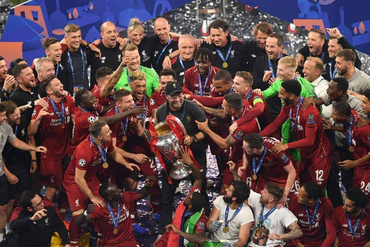 Liverpool manager Jurgen Klopp lifts the UEFA Champions League Trophy following the UEFA Champions League Final at the Wanda Metropolitano, Madrid.