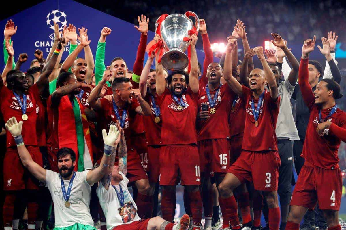 Liverpool's players celebrate with the trophy after winning the UEFA Champions League final against Tottenham Hotspur at Wanda Metropolitano stadium in Madrid, Spain, 01 June 2019. EFE/ Juanjo MartÌn