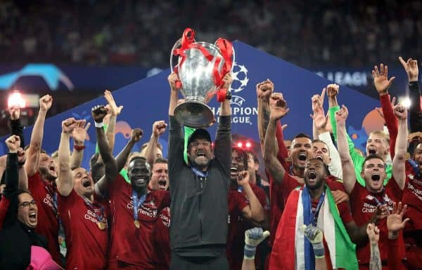 01 June 2019, Spain, Madrid: Liverpool manager Jurgen Klopp lifts the UEFA Champions League Trophy after winning the UEFA†Champions League final soccer match between Tottenham Hotspur and Liverpool at Wanda Metropolitano Stadium. Photo: Jan Woitas/dpa-Zentralbild/dpa