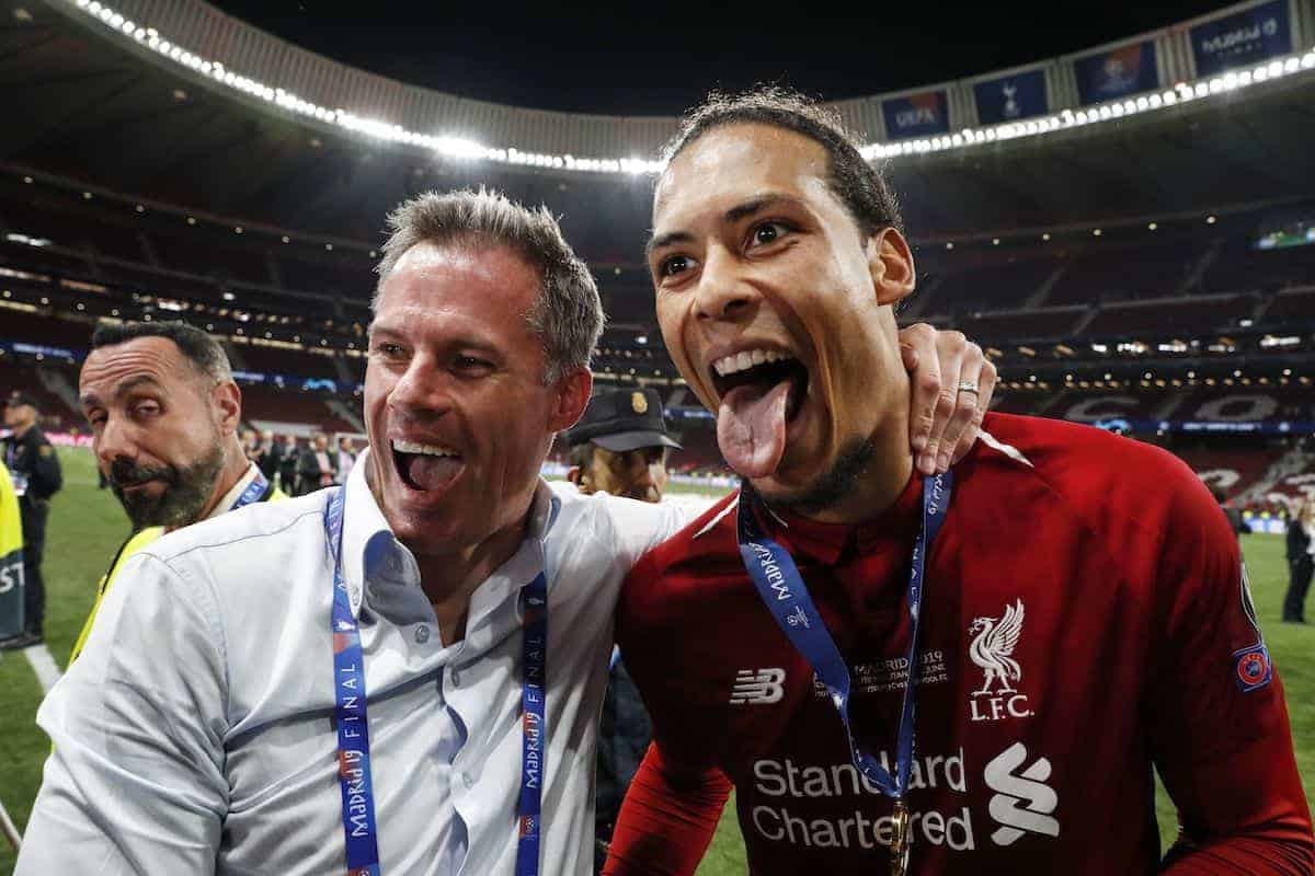 (l-r) Jamie carragher, Virgil van Dijk of Liverpool FC during the UEFA Champions League final match between Tottenham Hotspur FC and Liverpool FC at Estadio Metropolitano on June 01, 2019 in Madrid, Spain (MAURICE VAN STEEN/VI Images/PA Images)