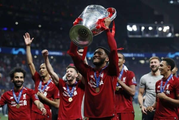 Joe Gomez of Liverpool lifts the cup during the UEFA Champions League match at Wanda Metropolitano Stadium, Madrid. Picture date: 1st June 2019. Picture credit should read: David Klein/Sportimage via PA Images