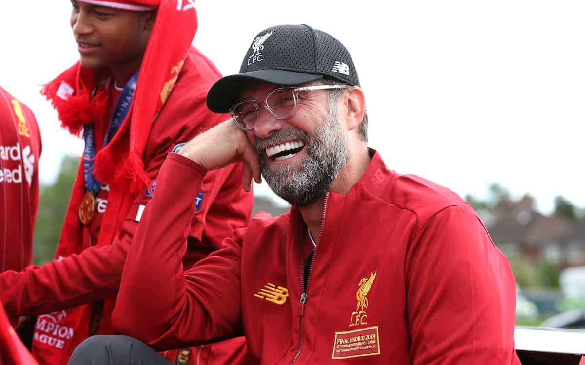 Liverpool manager Jurgen Klopp on an open top bus during the Champions League Winners Parade in Liverpool. (Image: Barrington Coombs/PA Wire)