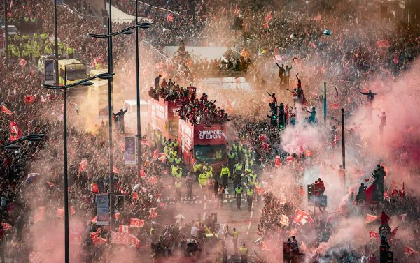 Liverpool players and staff on the bus during the Champions League Winners Parade in Liverpool. (Danny Lawson/PA Wire/PA Images)