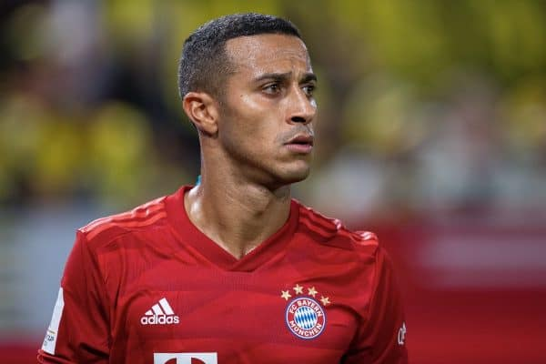 03 August 2019, North Rhine-Westphalia, Dortmund: Soccer: DFL Supercup, Borussia Dortmund - Bayern Munich in Signal Iduna Park. Bavaria's Thiago Alcantara. Photo: Guido Kirchner/dpa - IMPORTANT NOTE: In accordance with the requirements of the DFL Deutsche Fu?ball Liga or the DFB Deutscher Fu?ball-Bund, it is prohibited to use or have used photographs taken in the stadium and/or the match in the form of sequence images and/or video-like photo sequences.