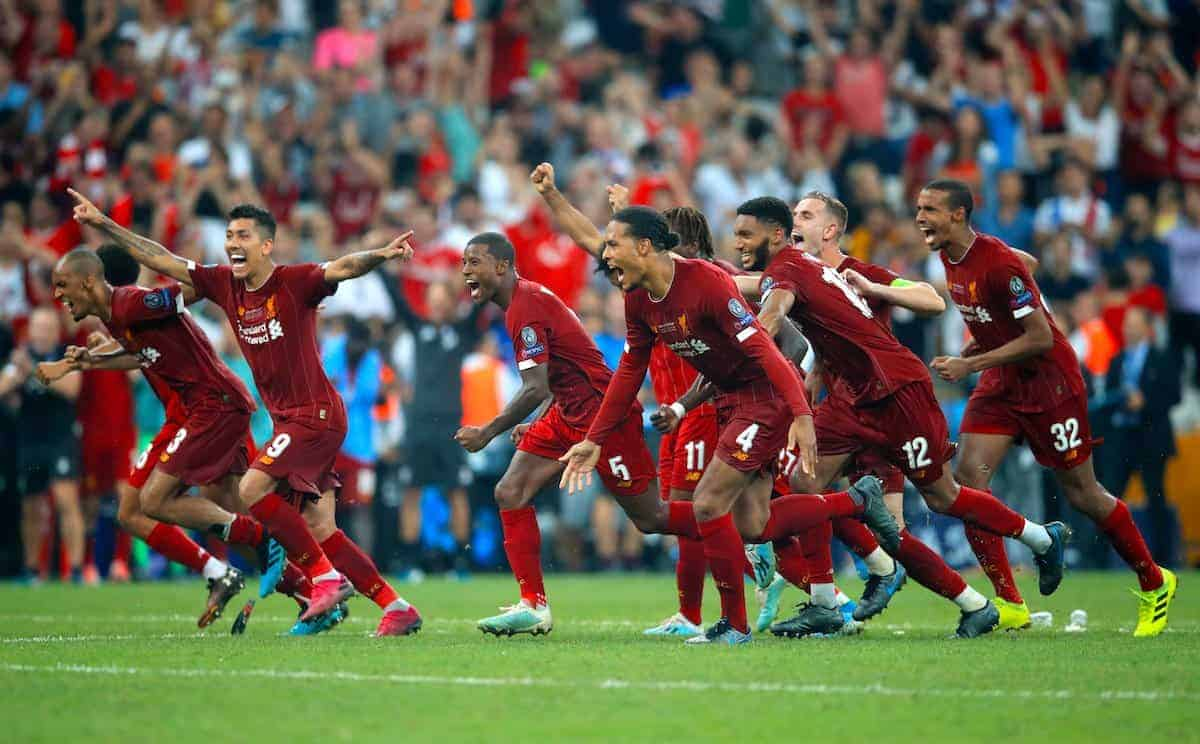 Liverpool players celebrate after winning the penalty shootout during the UEFA Super Cup Final at Besiktas Park, Istanbul. (Adam Davy/PA Wire/PA Images)