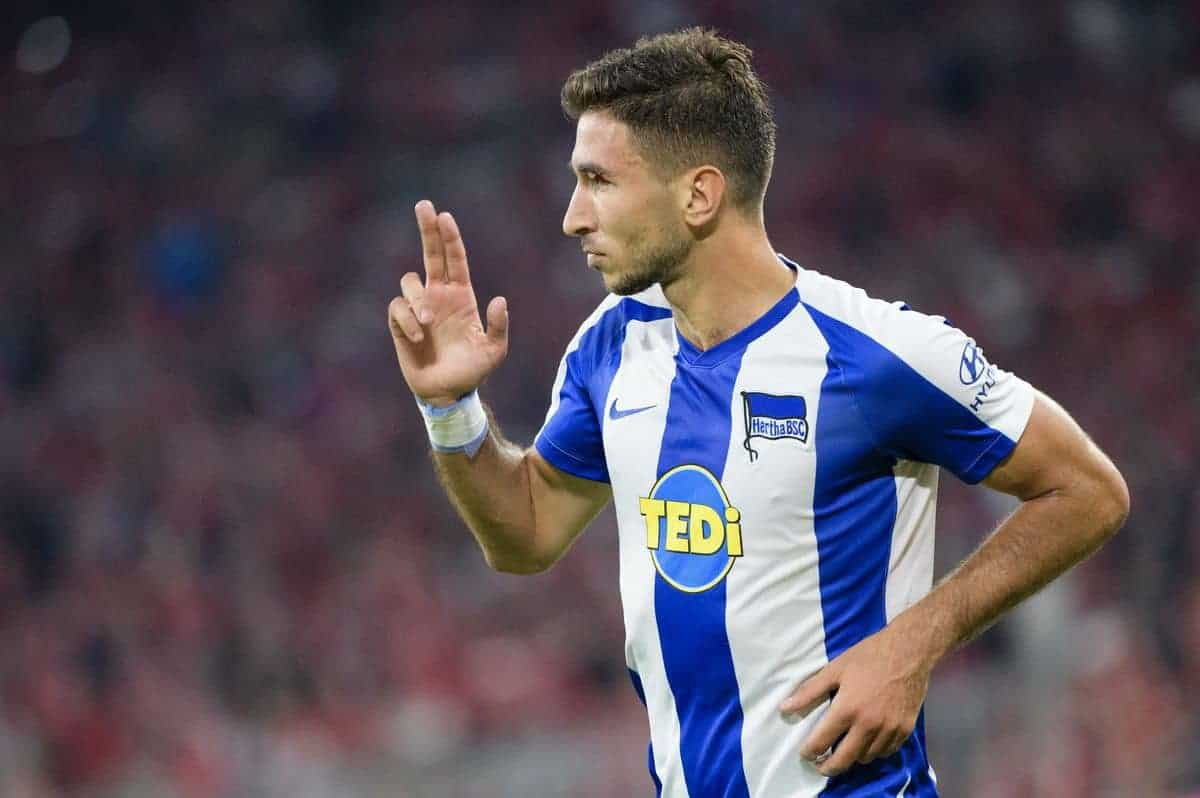 16 August 2019, Bavaria, Munich: Soccer: Bundesliga, Matchday 1, FC Bayern Munich - Hertha BSC in the Allianz Arena. Herthas Marko Grujic cheers his goal to 1:2. (IMPORTANT NOTE: According to the regulations of the DFL Deutsche Fu?ball Liga and the DFB Deutscher Fu?ball-Bund it is prohibited to use or have used photos taken in the stadium and/or the match in the form of sequence pictures and/or video-like photo sequences.) Photo: Matthias Balk/dpa