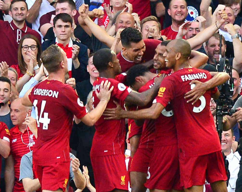 Liverpool's Joel Matip (centre) celebrates scoring his side's first goal of the game with team-mates during the Premier League match at Anfield, Liverpool. (Anthony Devlin/PA Wire/PA Images)
