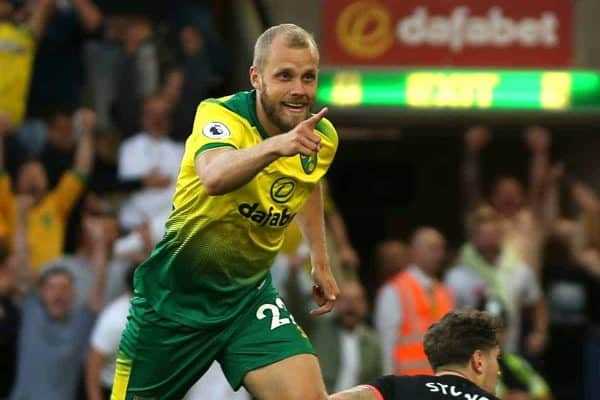 Norwich City's Teemu Pukki celebrates scoring his side's third goal of the game vs Man City (Steven Paston/EMPICS Sport)
