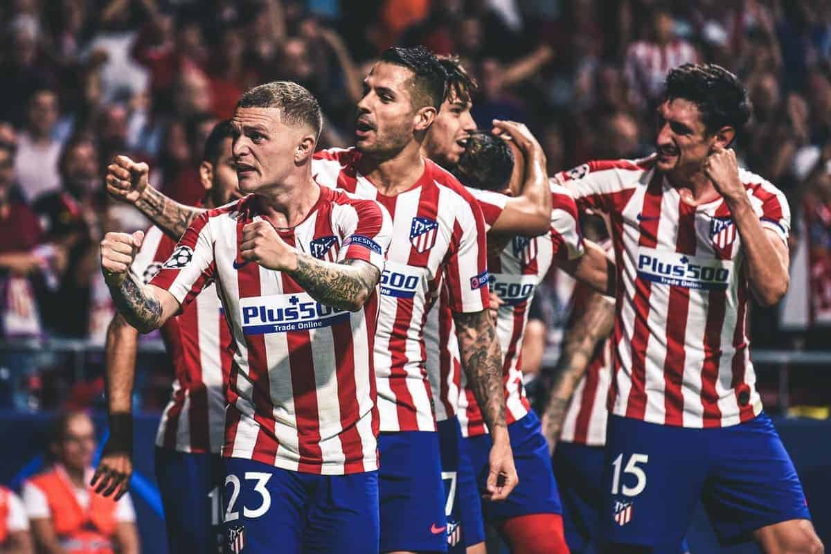 Kieran Trippier and Vitolo celebrates a goal during the UEFA Champions League group D match between Atletico Madrid and Juventus at Wanda Metropolitano on September 18, 2019 in Madrid, Spain. (Photo by Rubén de la Fuente Pérez/NurPhoto)