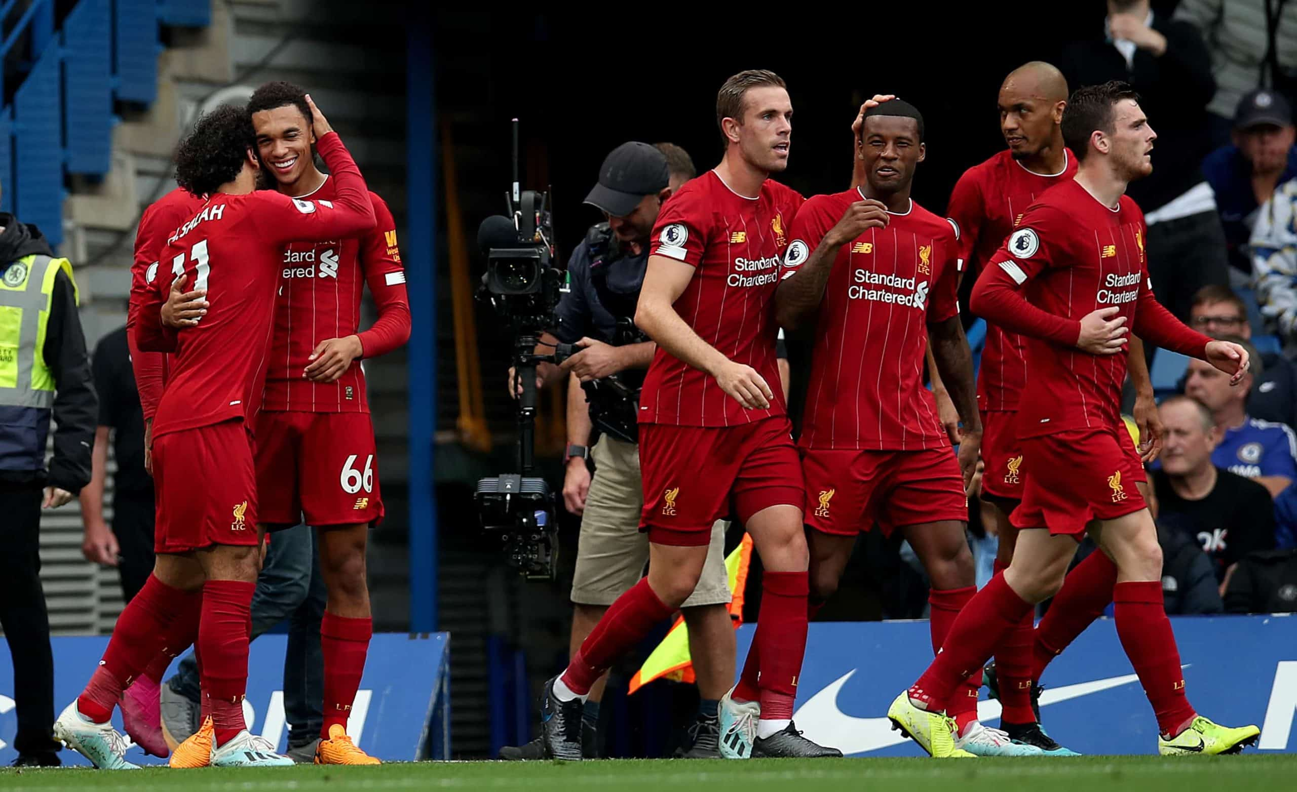 Liverpool's Trent Alexander-Arnold (second left) celebrates scoring his side's first goal of the game (PA Images)